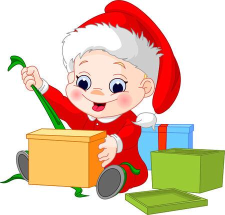 어린 소년 크리스마스 모자 오픈 선물