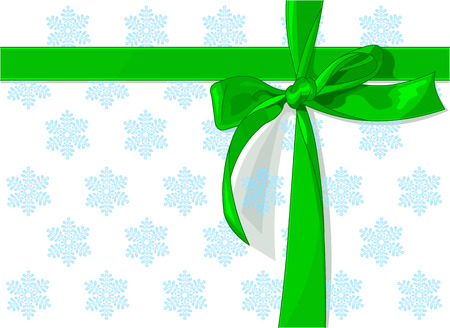 Green holiday bow on snow pattern background Vector