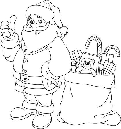 クリスマスと新年のための着色のページ。サンタ クロース。ギフト バッグします。ベクトル