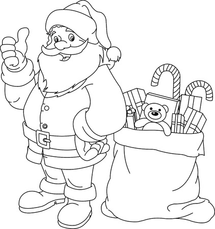 Coloring page for Christmas and New Year. Santa Claus. Bag with gifts. Vector