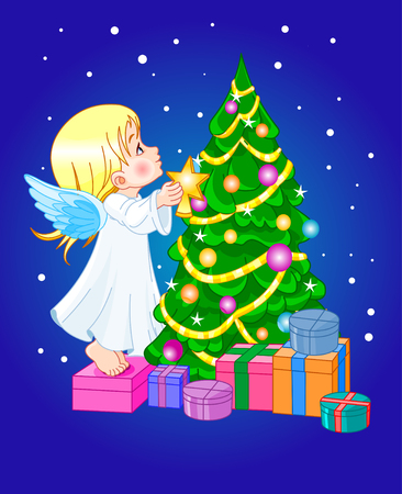 Angel putting star on Christmas tree Vector