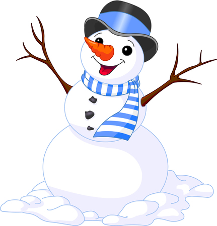 christmas illustration of funny cute snowman Ilustracja