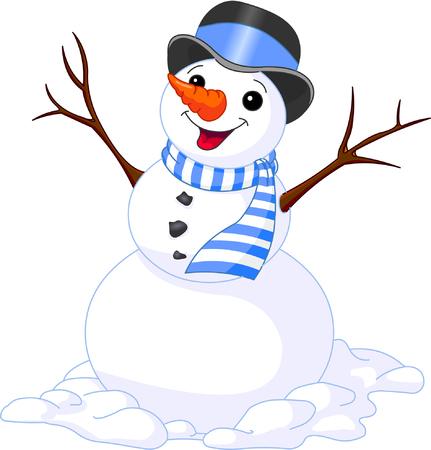Navidad divertida ilustración de lindo muñeco de nieve