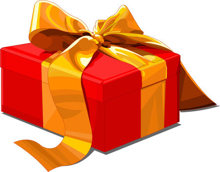 Christmas gift box with golden bow Vector