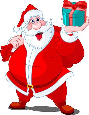 Santa Claus whis bag of gifts Иллюстрация