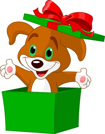 cartoon dog: Puppy jumping out from a gift box Illustration