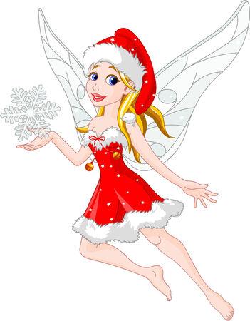 Flying christmas fairy holding snowflake