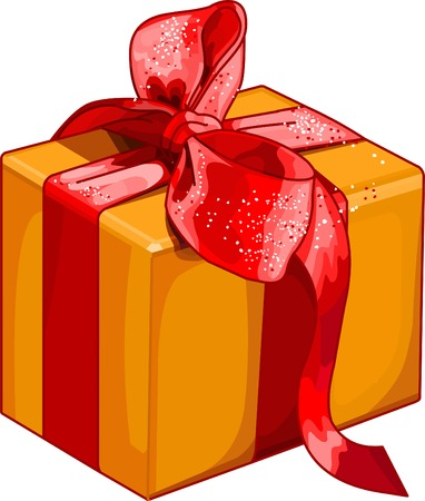 selebration: Christmas gift box with red bow
