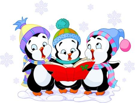 pinguino caricatura: Cute caricatura ping�inos cantando villancicos Vectores