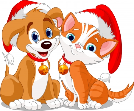 Christmas dog and cat Stock Vector - 3885942