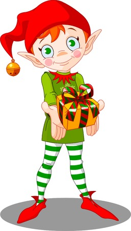 Cute Christmas elf giving gift Vector