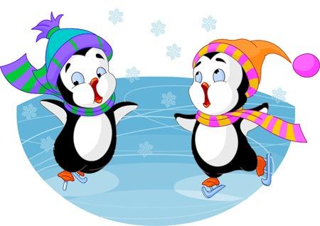 cute: two cute penguins figure-skating