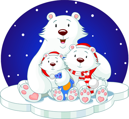 mother bear and her babes, very lovely  Vector
