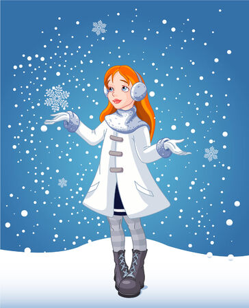 The red-haired girl looks at falling snow Vector