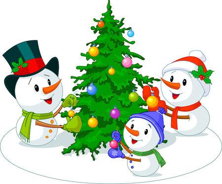 Snowmen family decorate Christmas tree Vectores