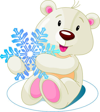 Cute white bear holding snowflake Vector