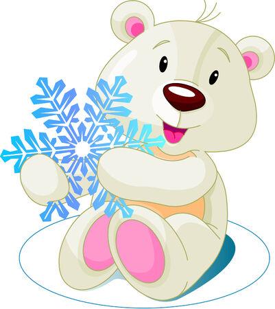 osos navide�os: Lindo oso blanco la celebraci�n de copo de nieve Vectores