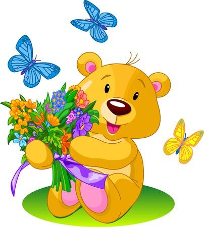 꽃다발을주는 귀여운 작은 곰
