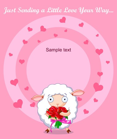 Cute white sheep holding roses Vector