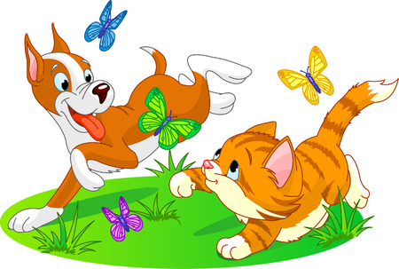 puppy and kitten: cat and dog running with butterflies