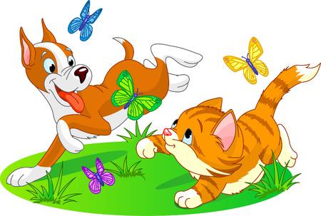 perro corriendo: gato y perro corriendo con mariposas Vectores