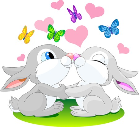 two cute rabbits in love