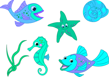 Under the sea. Vector fish set