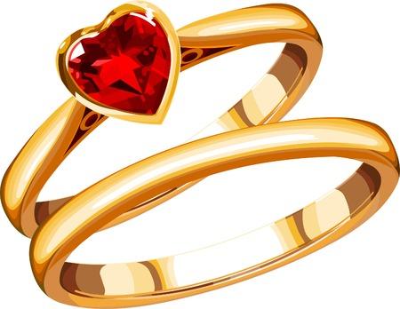 Deux anneaux de mariage sur un fond blanc Banque d'images - 4024243