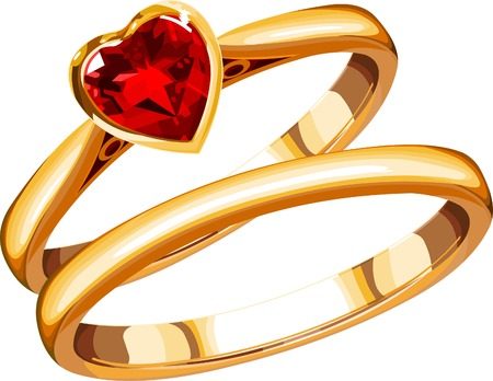 two wedding rings on a white background Vector