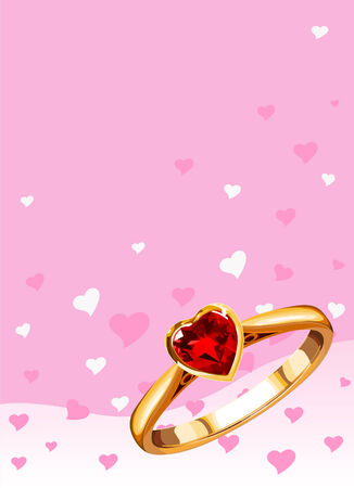nuptials: wedding ring on a pink background