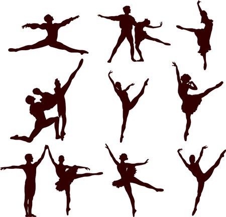 ballet dancing: ballerina e silhouette vector balletto