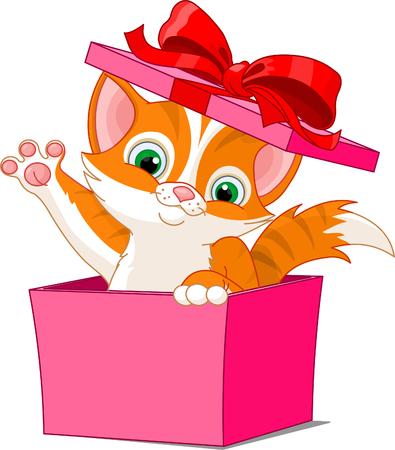 선물 상자에서 점프하는 새끼 고양이 일러스트