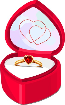 ruby ring in red heart shaped box isolated on white background 向量圖像