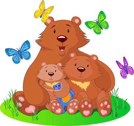 family grass: madre se sienta en un oso con el prado cachorros