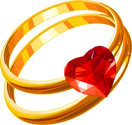 vow: wedding rings on a white background