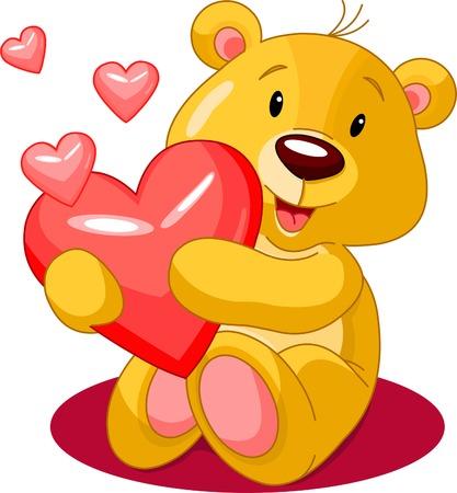 Cute little bear holding red heart. Vector illustration Stock Vector - 4086871