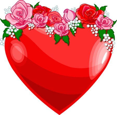 Heart with roses � Vector illustration  Vector