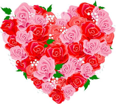 wallflower: Valentine rose heart shape. Vector illustration