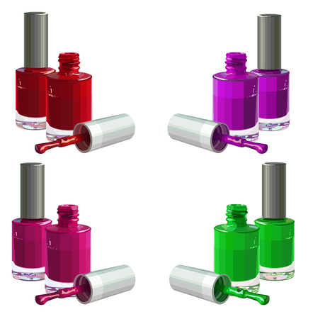 Bottles of  nail polish, isolated on white background. Vector Çizim