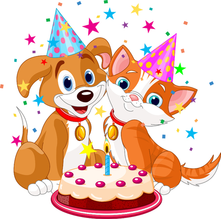 The cat and dog celebrate birthday. Vector illustration Vector