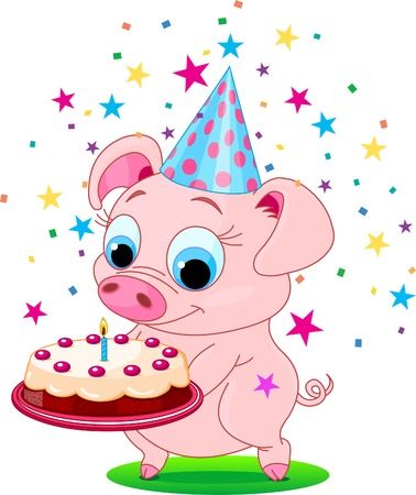pig tails: Piglet  holding birthday cake, smiling. Vector illustration