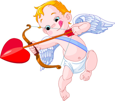 Illustratie van een Valentijnsdag Amor klaar om te schieten zijn pijl