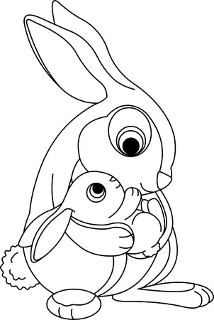 Cute rabbits. Mother holding her baby bunny. Coloring page Çizim