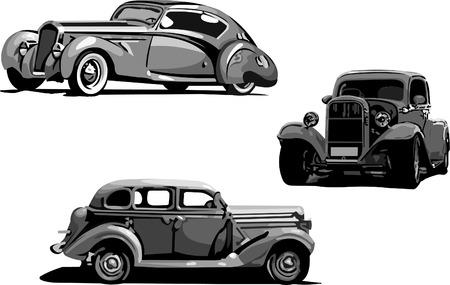 Ilustración vectorial de coches antiguos.