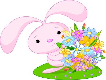 cute girl: Cute little bunny-girl giving a bouquet