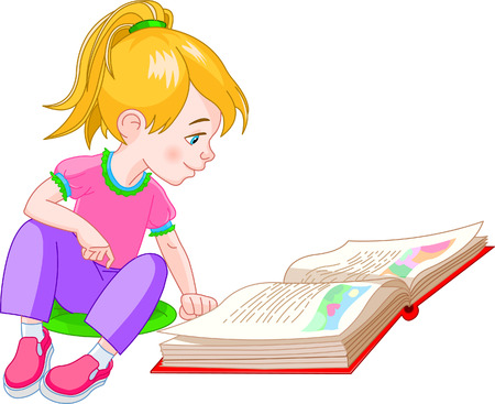 vector images: girl  sitting on floor and reading a book