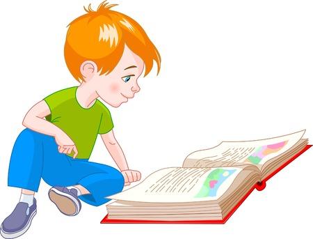 boy  sitting on floor and reading a book Illusztráció