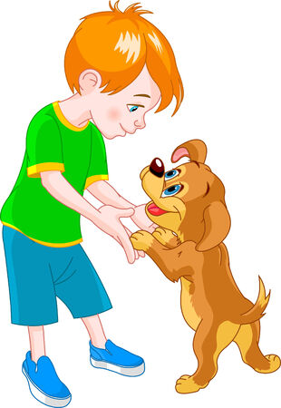redhair: Red Hair boy playing with cute puppy Illustration