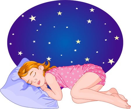 Cute Red Hair Girl Sleeping. Vector Illustration 向量圖像