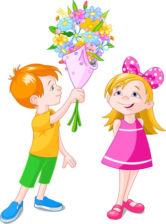 sudden: Boy giving a bouquet to girl. Vector illustration
